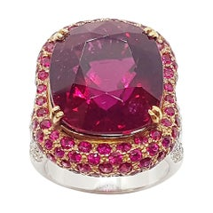 Rubellite with Ruby and Diamond Ring Set in 18 Karat White Gold Settings