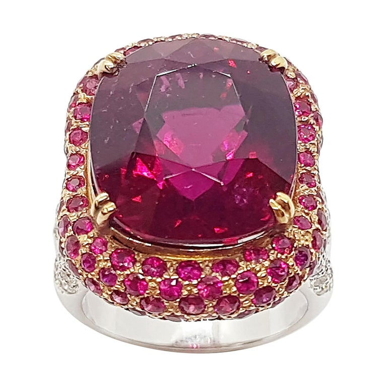 Rubellite with Ruby and Diamond Ring Set in 18 Karat White Gold Settings For Sale