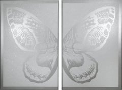 Hybrid Diptych Butterfly I - Silver on White