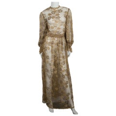 RUBEN PANIS Gold Lace Maxi Dress