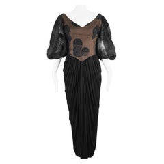 Ruben Panis Vintage 1980s Beaded Tulle & Jersey  Balloon Sleeve Evening Dress