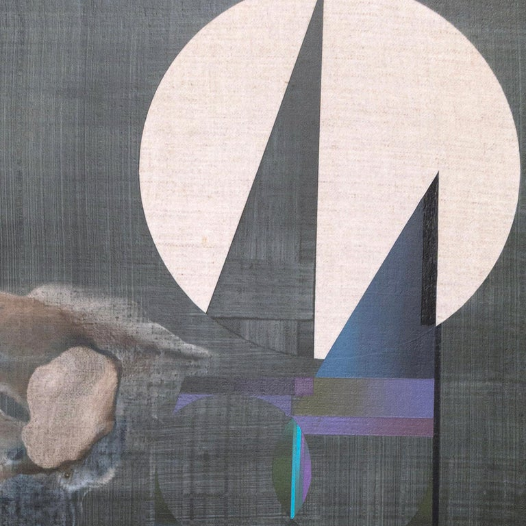 Of Feather and Felt, E O Som - Gray Abstract Painting by Rubens Ghenov
