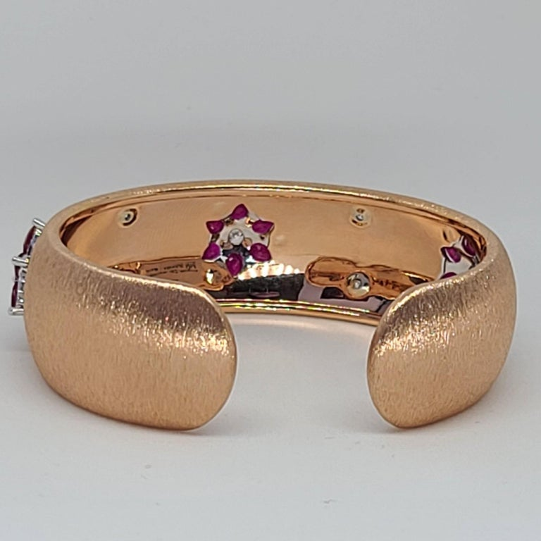 Rubies 18 Karat Rose White Gold Link Bangle with Diamonds For Sale 8