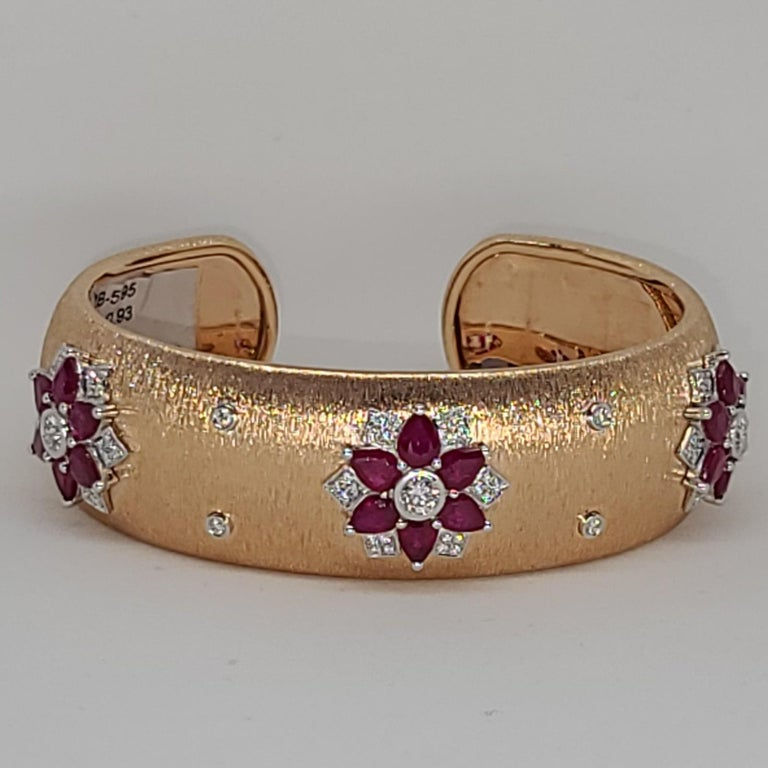 Rubies 18 Karat Rose White Gold Link Bangle with Diamonds For Sale 10