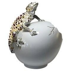 Rubies 24k Pure Gold, Porcelain Luxury Lizard Sculpture Egg Caviar Bowl 2000s