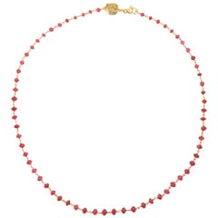 Rubies 9 Karat Rose Gold Necklace Handcrafted in Italy