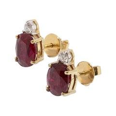 Rubies and Diamond Earrings, Yellow Gold 750