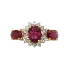 Rubies and Diamonds Ring, 750 Yellow Gold Red
