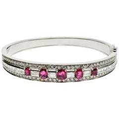 Rubies and Diamonds White Gold Bangle Bracelet Made in Italy