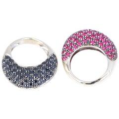 Rubies Black Diamonds 18 Karat Yellow Gold Ring Pair Whimsical