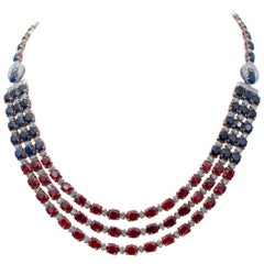 Rubies, Blue Sapphires, Diamonds, 14 Karat White and Rose Necklace
