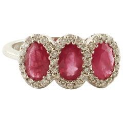 Rubies, Diamonds, 18 Karat White Gold Ring