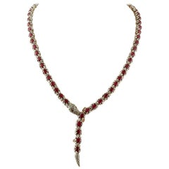 Rubies, Diamonds, 9 Karat Yellow Gold and Silver, Retro Snake Necklace