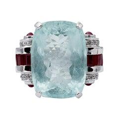 Rubies, Diamonds, Aquamarine, 14 Karat White Gold Ring