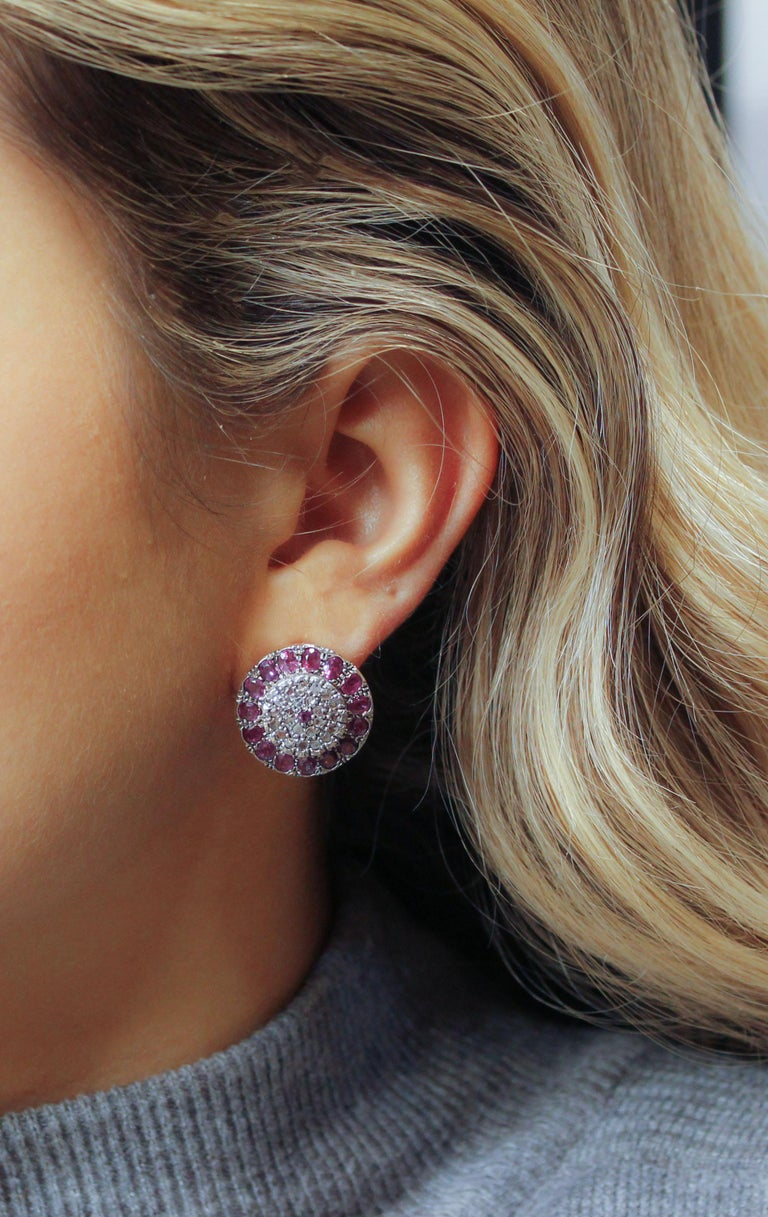 Rubies Diamonds Rose Gold and Silver Earrings 8