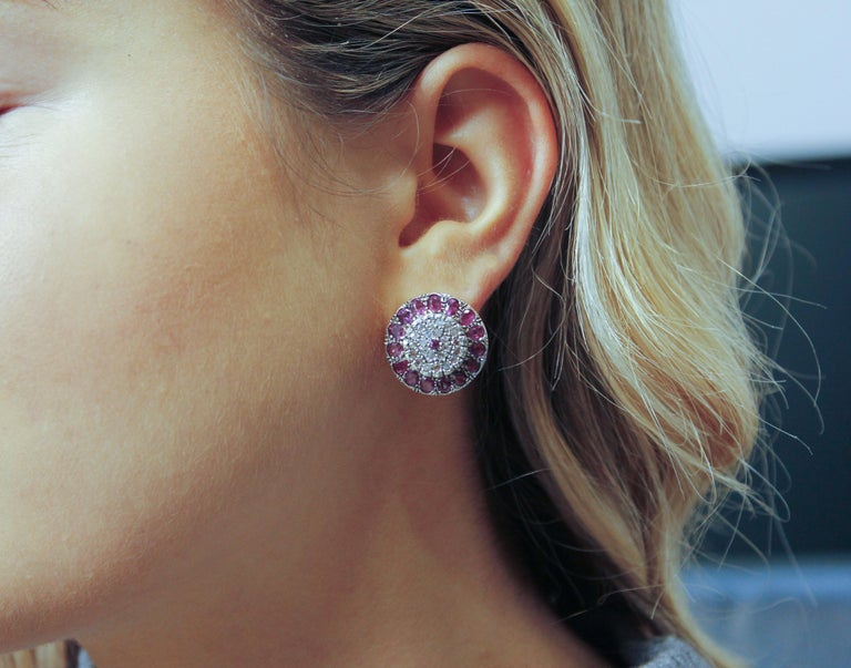Rubies Diamonds Rose Gold and Silver Earrings 4
