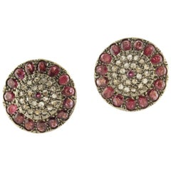Rubies Diamonds Rose Gold and Silver Earrings