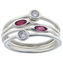 Rubies Diamonds White Gold Stacking Ring Handcrafted in Italy by Botta Gioielli