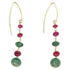 Rubies Emeralds Rose Gold Dangle Earrings Handcrafted in Italy by Botta Gioielli