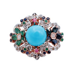 Rubies, Emeralds, Sapphires Magnesite Diamonds 9 Karat Rose Gold and Silver Ring