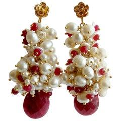 Rubies Freshwater Keshi and Seed Pearls, Cherries in the Snow Cluster Earrings