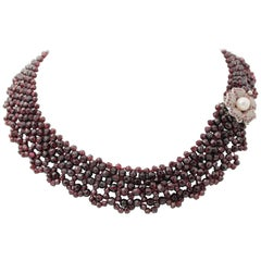Rubies, Garnets, Stones, Pearl, 9 Karat Gold and Silver Multi-Strands Necklace