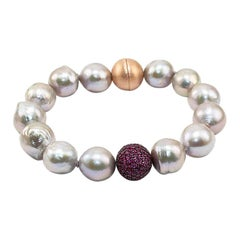 Rubies Pave, Pearls and Silver Clasp