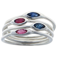 Rubies Sapphires White Gold Stacking Ring Handcrafted in Italy by Botta Gioielli