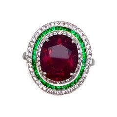 Rubilite Tourmaline, Emerald and Diamond