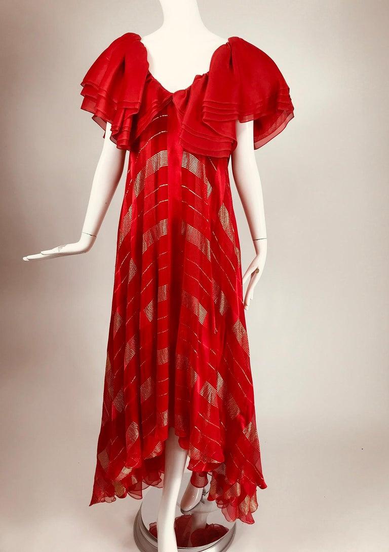 Rubin Panis Red & Gold Metallic Layered Silk Bias Cut Plunge Neck Evening Dress  For Sale 6