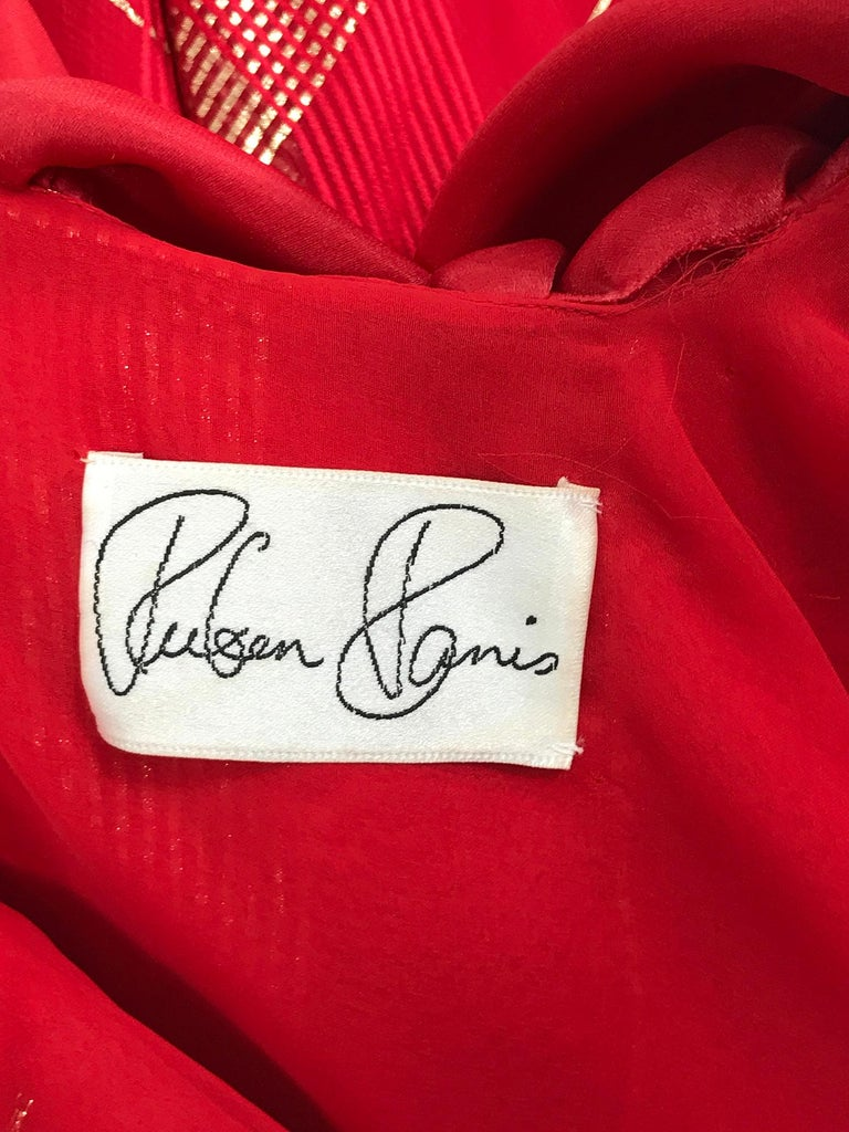 Rubin Panis Red & Gold Metallic Layered Silk Bias Cut Plunge Neck Evening Dress  For Sale 7