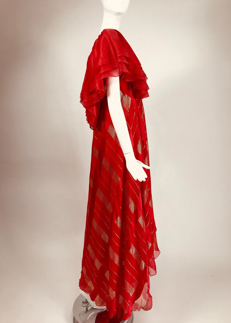 Women's Rubin Panis Red & Gold Metallic Layered Silk Bias Cut Plunge Neck Evening Dress  For Sale
