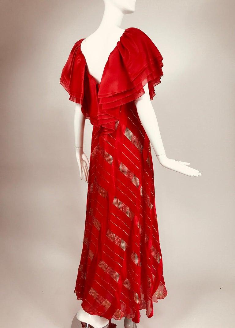 Rubin Panis Red & Gold Metallic Layered Silk Bias Cut Plunge Neck Evening Dress  For Sale 1