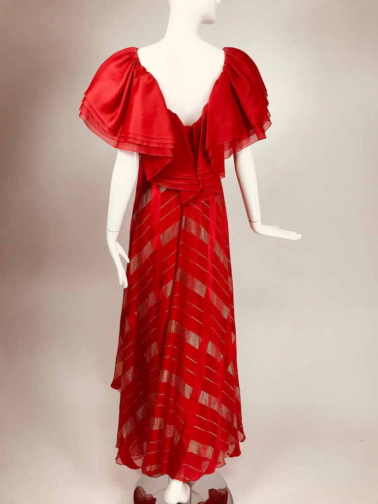 Rubin Panis Red & Gold Metallic Layered Silk Bias Cut Plunge Neck Evening Dress  For Sale 2