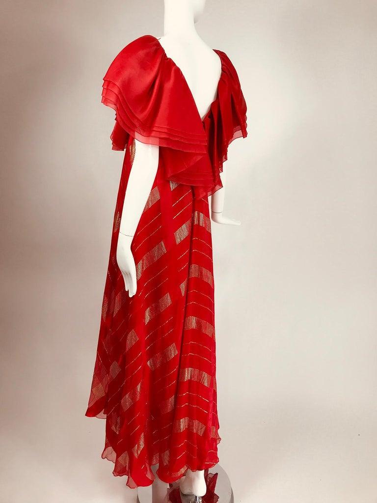 Rubin Panis Red & Gold Metallic Layered Silk Bias Cut Plunge Neck Evening Dress  For Sale 3