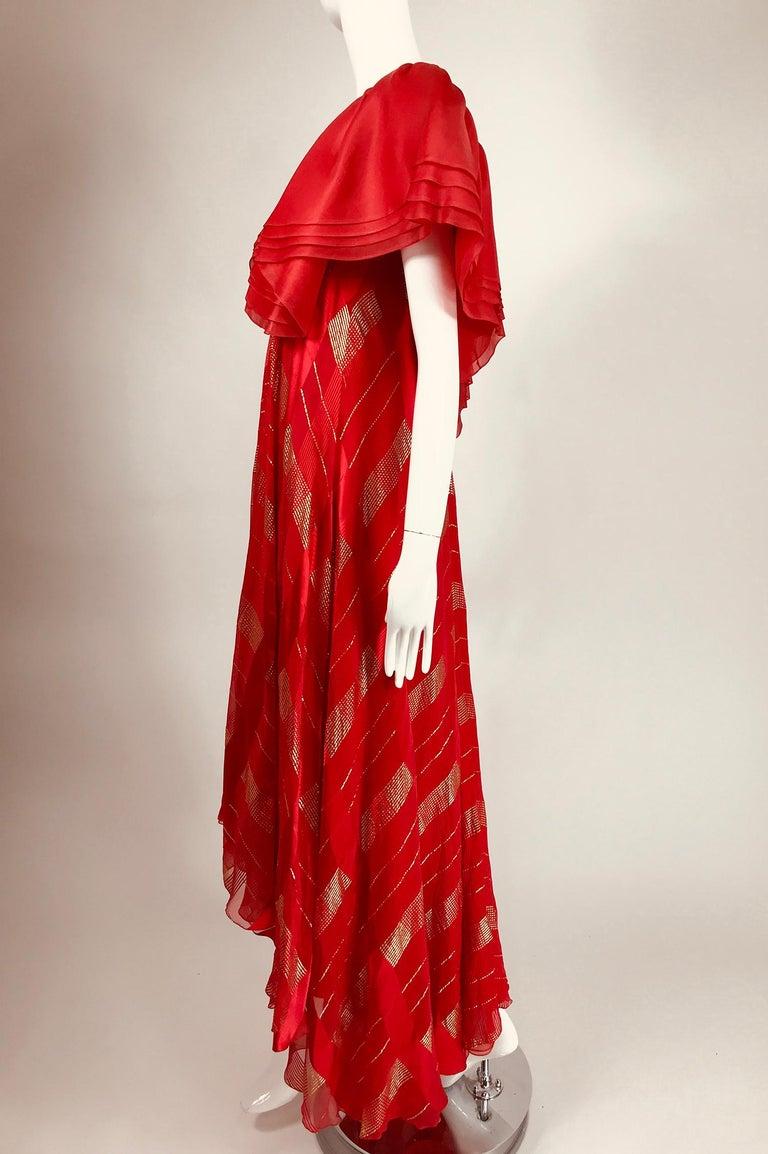 Rubin Panis Red & Gold Metallic Layered Silk Bias Cut Plunge Neck Evening Dress  For Sale 4