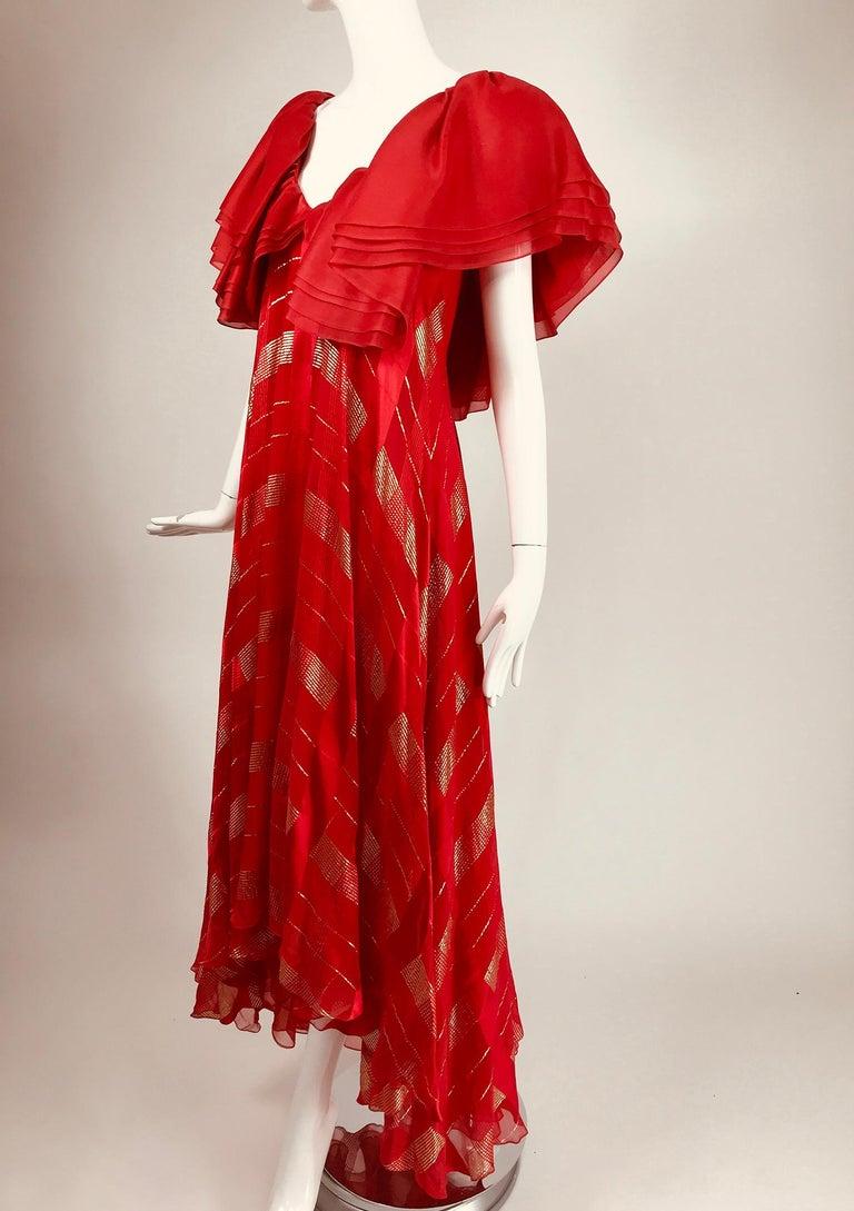 Rubin Panis Red & Gold Metallic Layered Silk Bias Cut Plunge Neck Evening Dress  For Sale 5