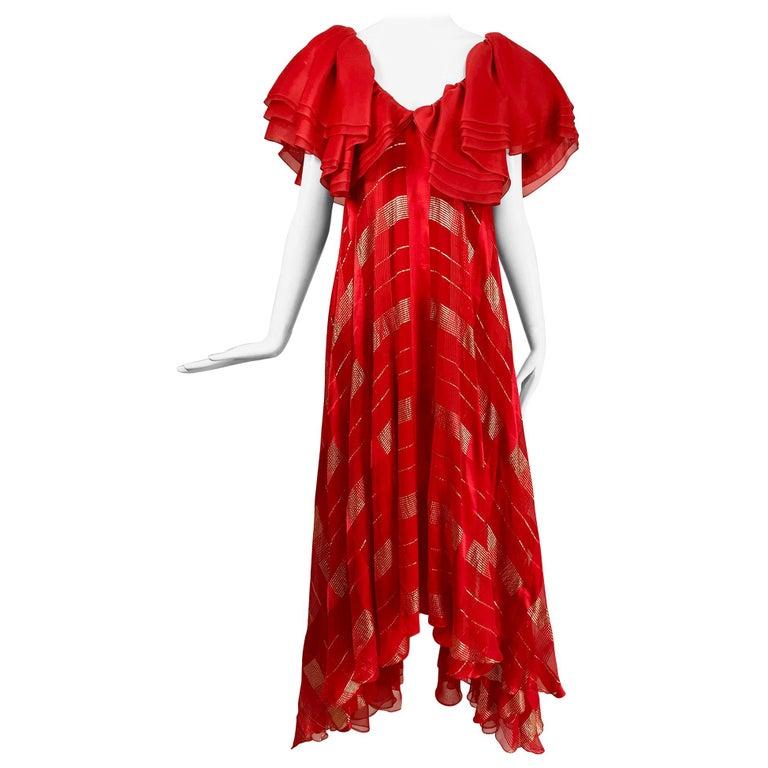 Rubin Panis Red & Gold Metallic Layered Silk Bias Cut Plunge Neck Evening Dress  For Sale