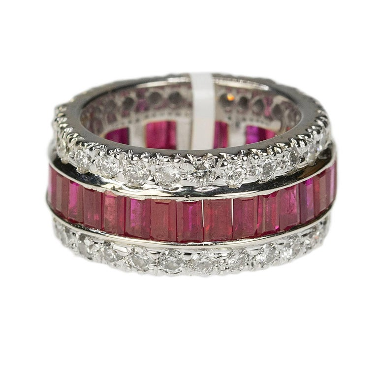 Ruby and Diamond Gold Eternity Band For Sale