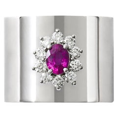 Ruby 0.430 Carat Diamond 0.410 Carat Platinum Wide Band Ring