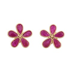 Ruby 18 Karat Gold Daisy Flower Stud Earrings