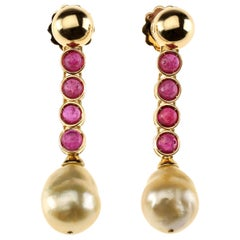 Ruby 18 Karat Gold Natural Gold Pearls Earrings