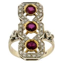 Ruby 18 Karat Yellow and White Gold, Diamonds Cocktail Ring