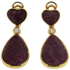 Ruby, 18 Karat Yellow Gold Diamonds Drop Earrings