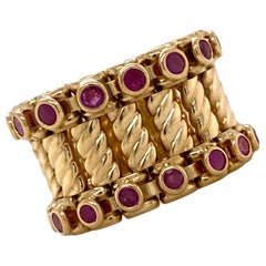Ruby 18 Karat Yellow Gold Wide Flexible Band Ring