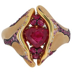 Ruby 2.04 Carat Diamond Pink Sapphire 18 Karat Yellow Gold HeartBeat Ring