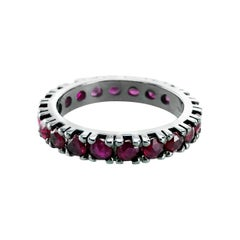 Ruby 2.13 Carats Set in 18kt Black Gold Unisex Corone Eternity Ring