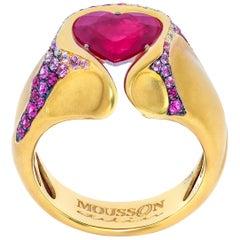 Ruby 2.20 Carat Diamond Pink Sapphire Rubies 18 Karat Yellow Gold HeartBeat Ring