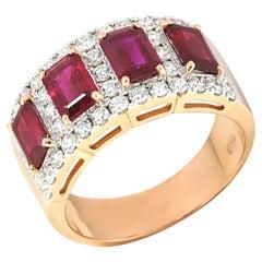 Ruby 2.59 Carat with Diamonds 0.82 Carat Ring Set in 18 Karat Pink Gold