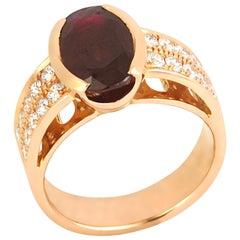 Ruby 3.20 Carat with Diamond 0.58 Carat Ring Set in 18 Karat Pink Gold Settings